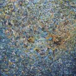 'Plastic pollution', Acrylic on canvas 153x153 cm.